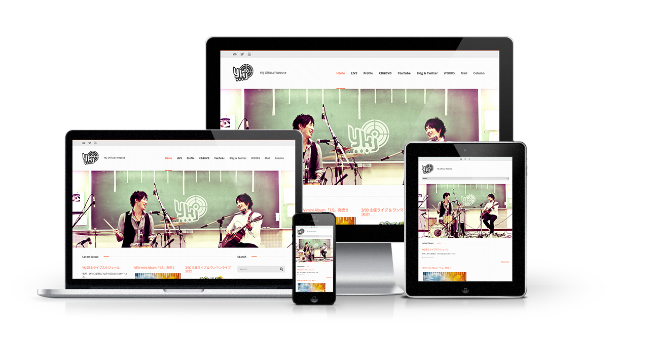 バンド「YKJ」さんのオフィシャルWEBサイトをリニューアルしました